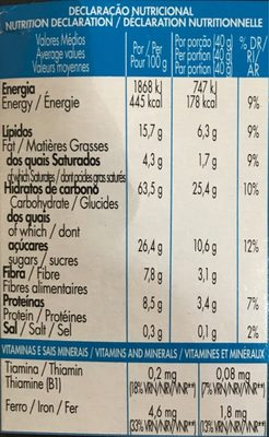 Crunchy Muesly Chocolate - Nutrition facts - fr