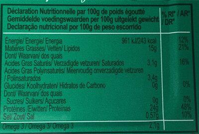 Sardines sans peau et sans arêtes à l'huile d'olive - Voedigswaarden