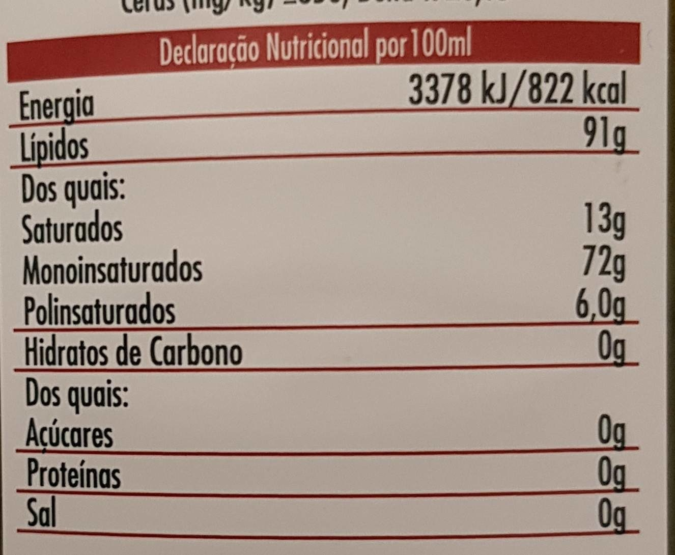 Oliveira da serra 750ml - Informations nutritionnelles - fr
