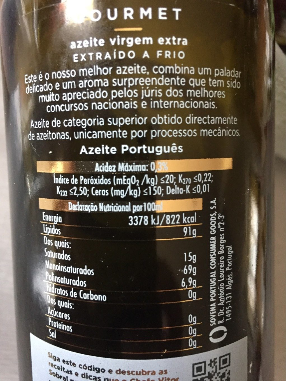 Oliveira da Serra gourmet - Informations nutritionnelles - fr