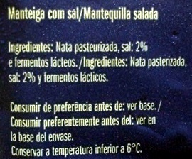 Primor Manteiga com sal - Ingredients - pt