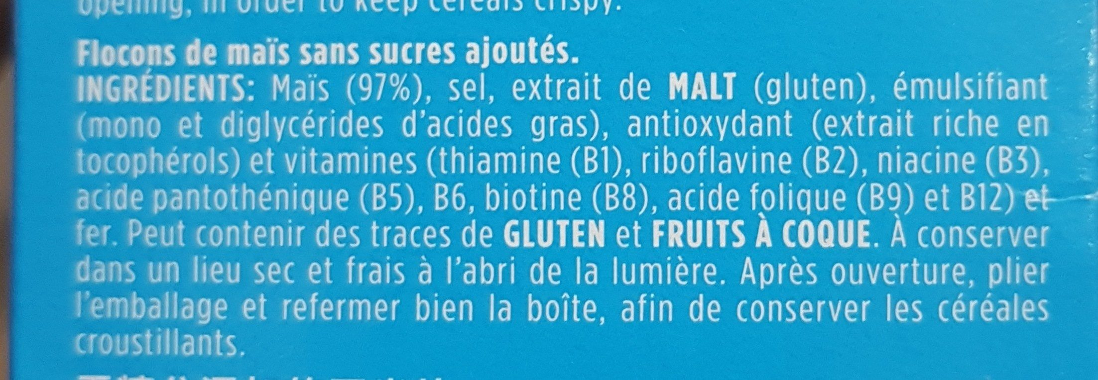 Flocos de milho Nacional 0% - Ingrédients - fr
