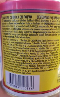 Royal Baking Powder 226G - Informations nutritionnelles - en