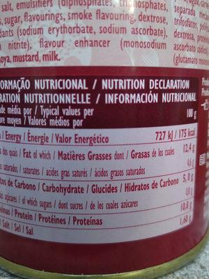 saucisse Francfort - Informations nutritionnelles