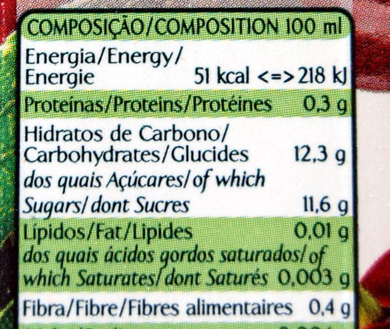 Néctar de cereja e maçã - Informations nutritionnelles - fr