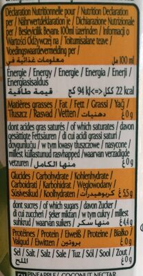 Néctar de ananás e coco - Valori nutrizionali - pt