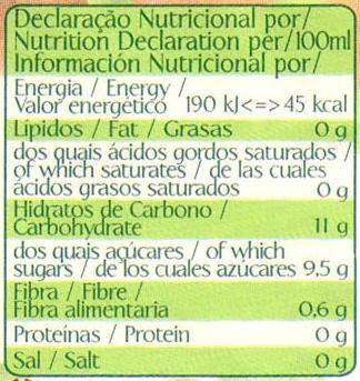 Néctar de melocotón - Informations nutritionnelles
