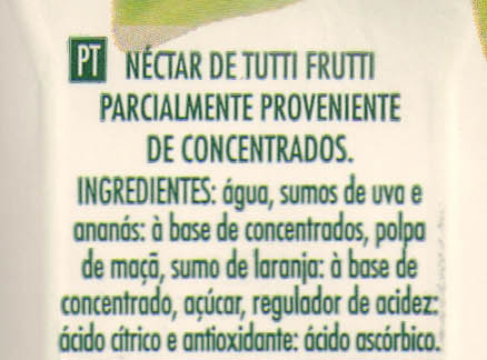 Compal Clássico Tutti Frutti - Ingredientes