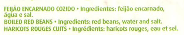Feijão encarnado - Ingredientes