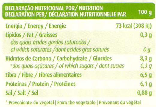 Feijão encarnado - Informação nutricional