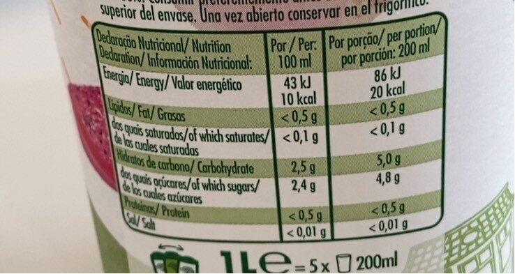 Néctar de goiabada e pitaia - Vital equilíbrio - Informació nutricional - pt