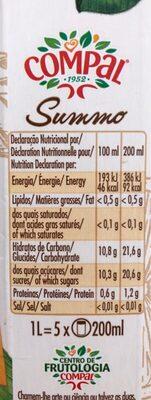 Compal - Laranja - Información nutricional
