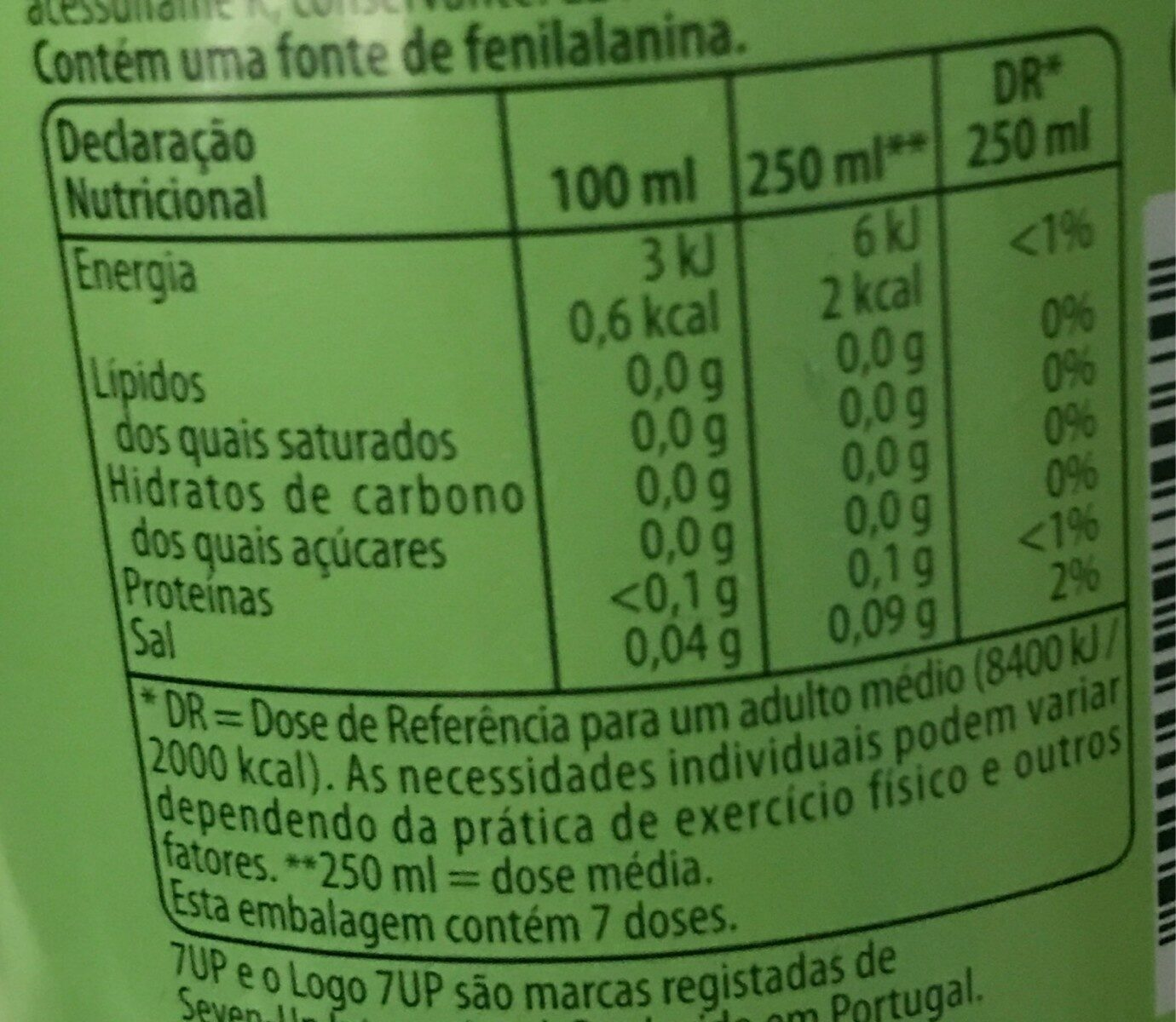 7up free - Valori nutrizionali - pt