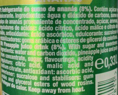 Sumol Ananas - Ingredienti - pt