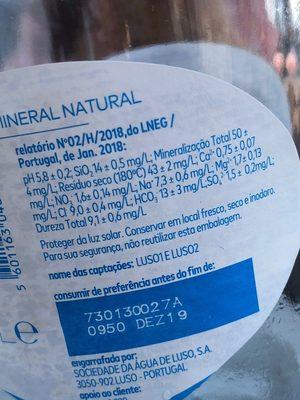 Agua mineral natural - Informació nutricional