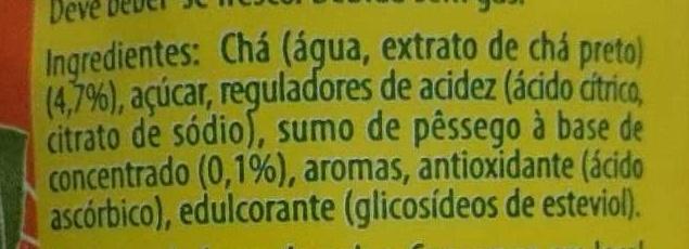 Ice tea pêssego Lipton - Ingredientes - pt