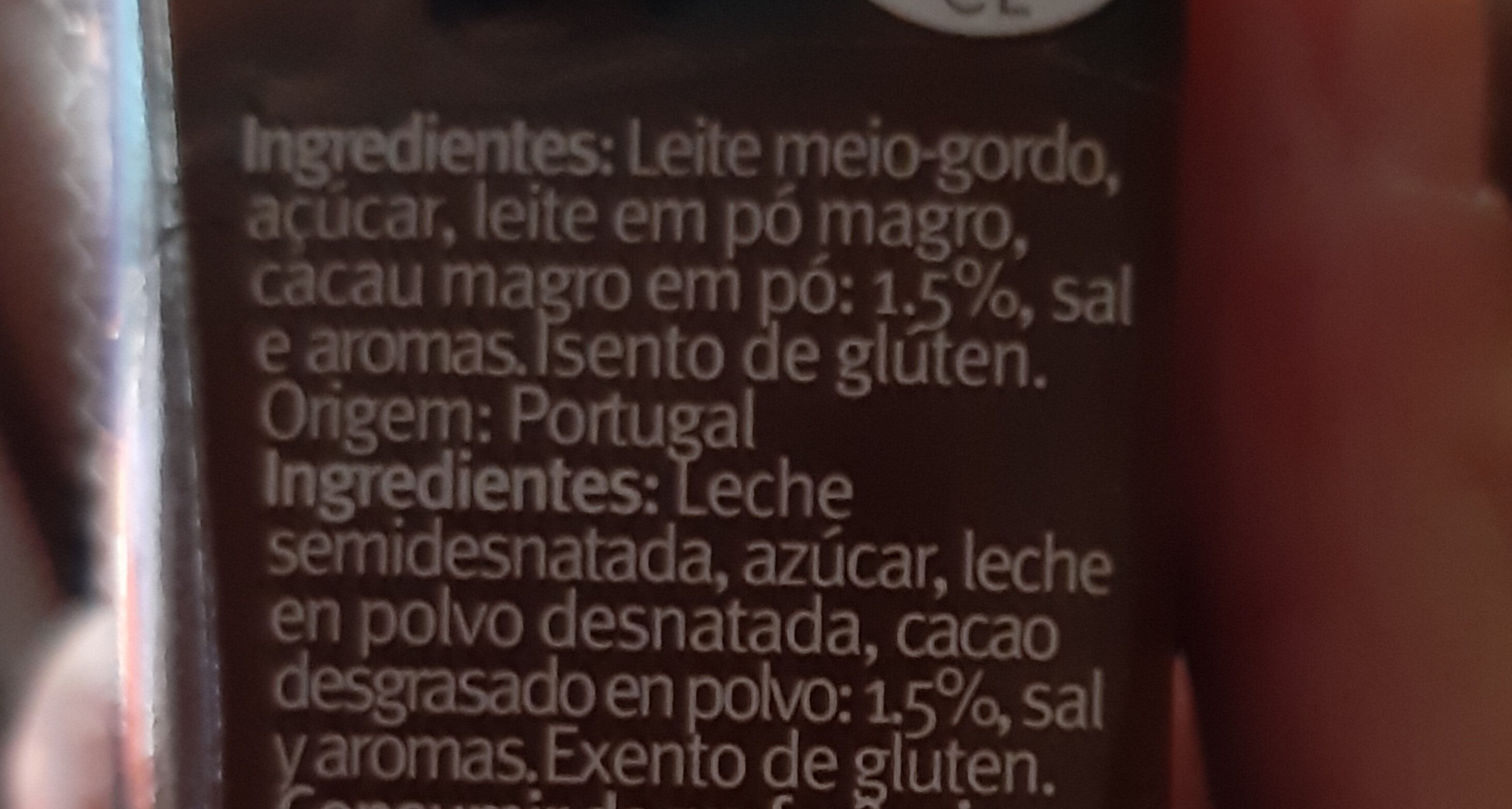 Leite com chocolate - Ingredientes - pt