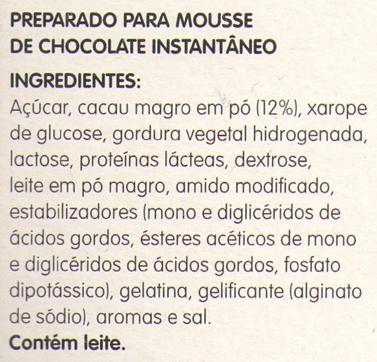 Mousse de chocolate - Ingredients