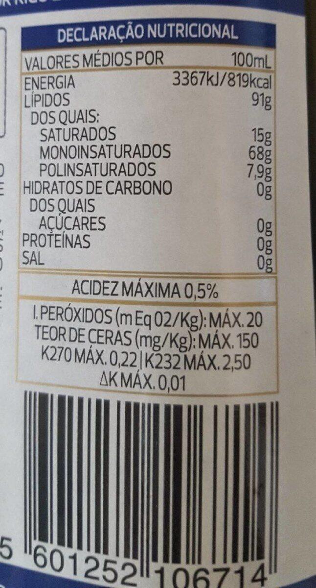 Azeite Galo Virgem Extra Reserva - Nutrition facts - pt