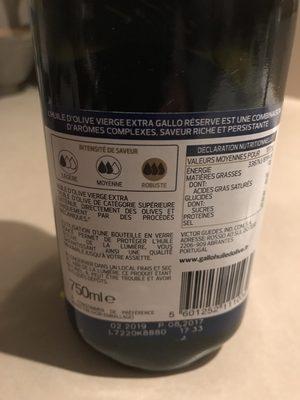 Réserve huile d'olive vierge extra - Ingredients