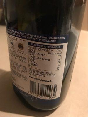 Réserve huile d'olive vierge extra - Nutrition facts