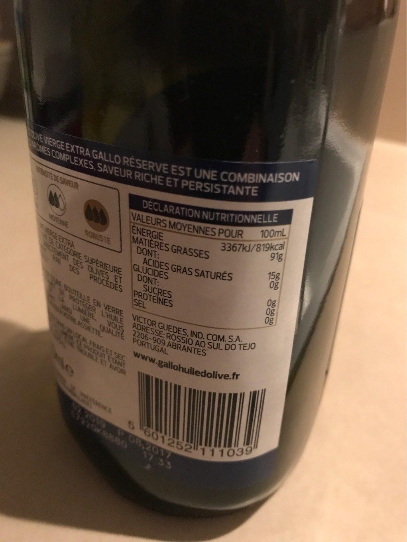 Réserve huile d'olive vierge extra - Nutrition facts - fr