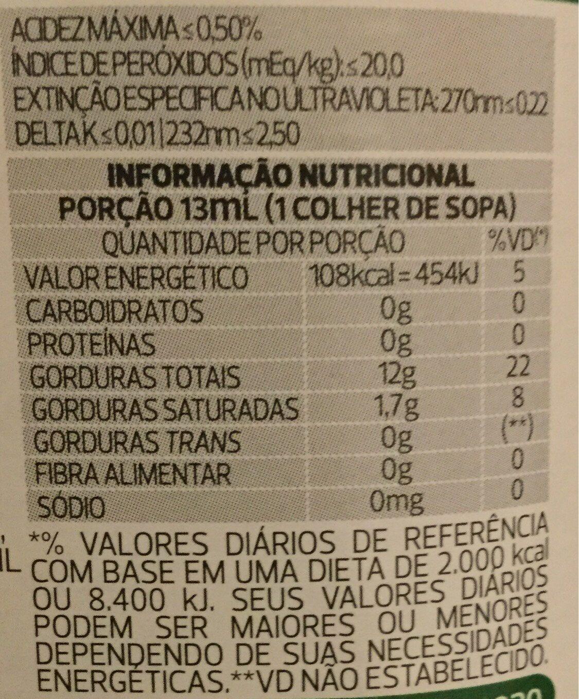 Azeite Extra Virgem Gallo - Informação nutricional - pt