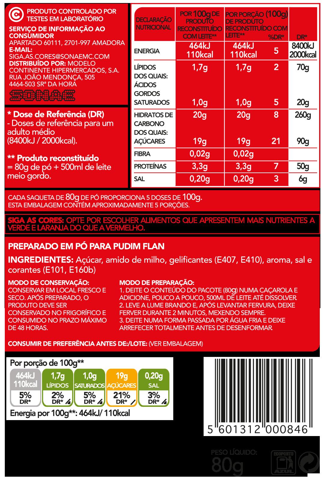Pudim Flan - Ingrediënten - pt