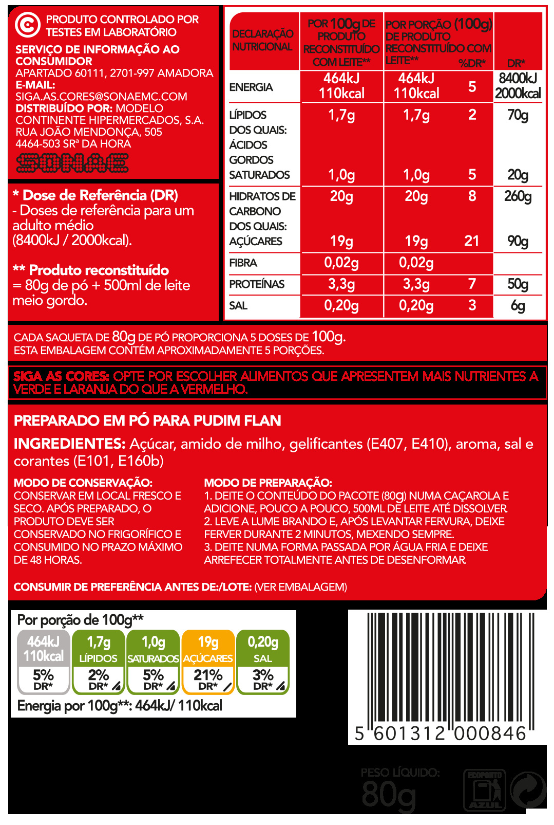 Pudim Flan - Nutrition facts