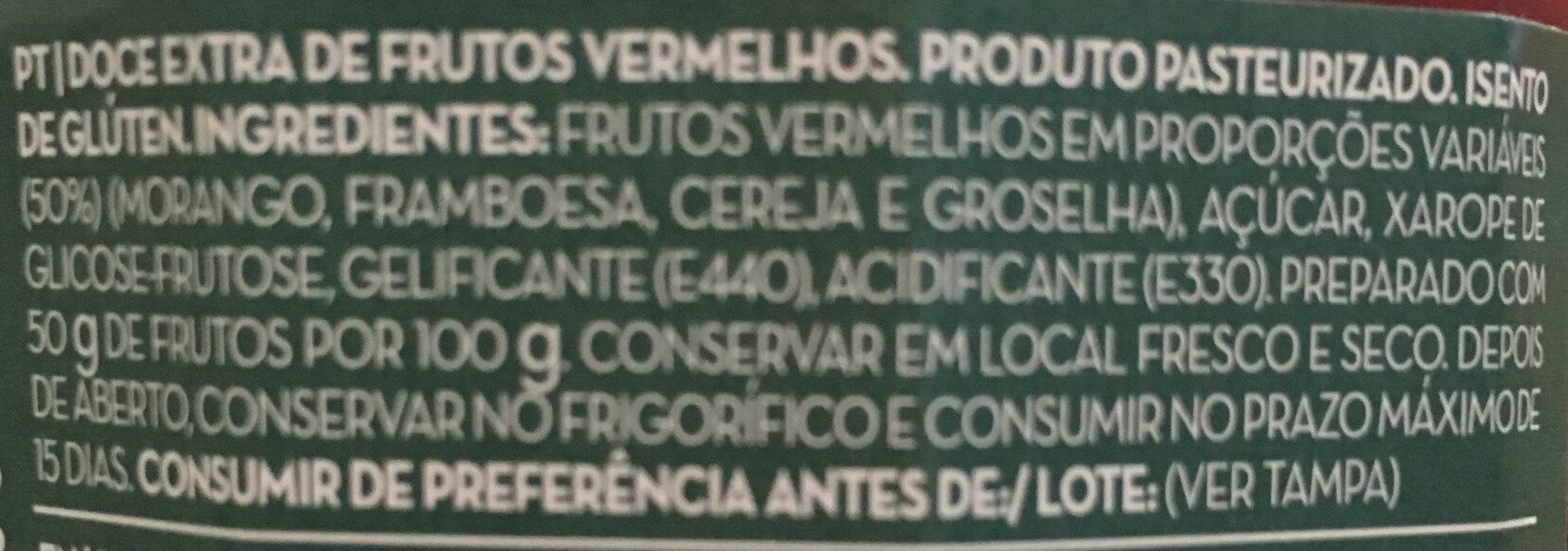 Doce extra 4 frutos vermelhos - Ingredients
