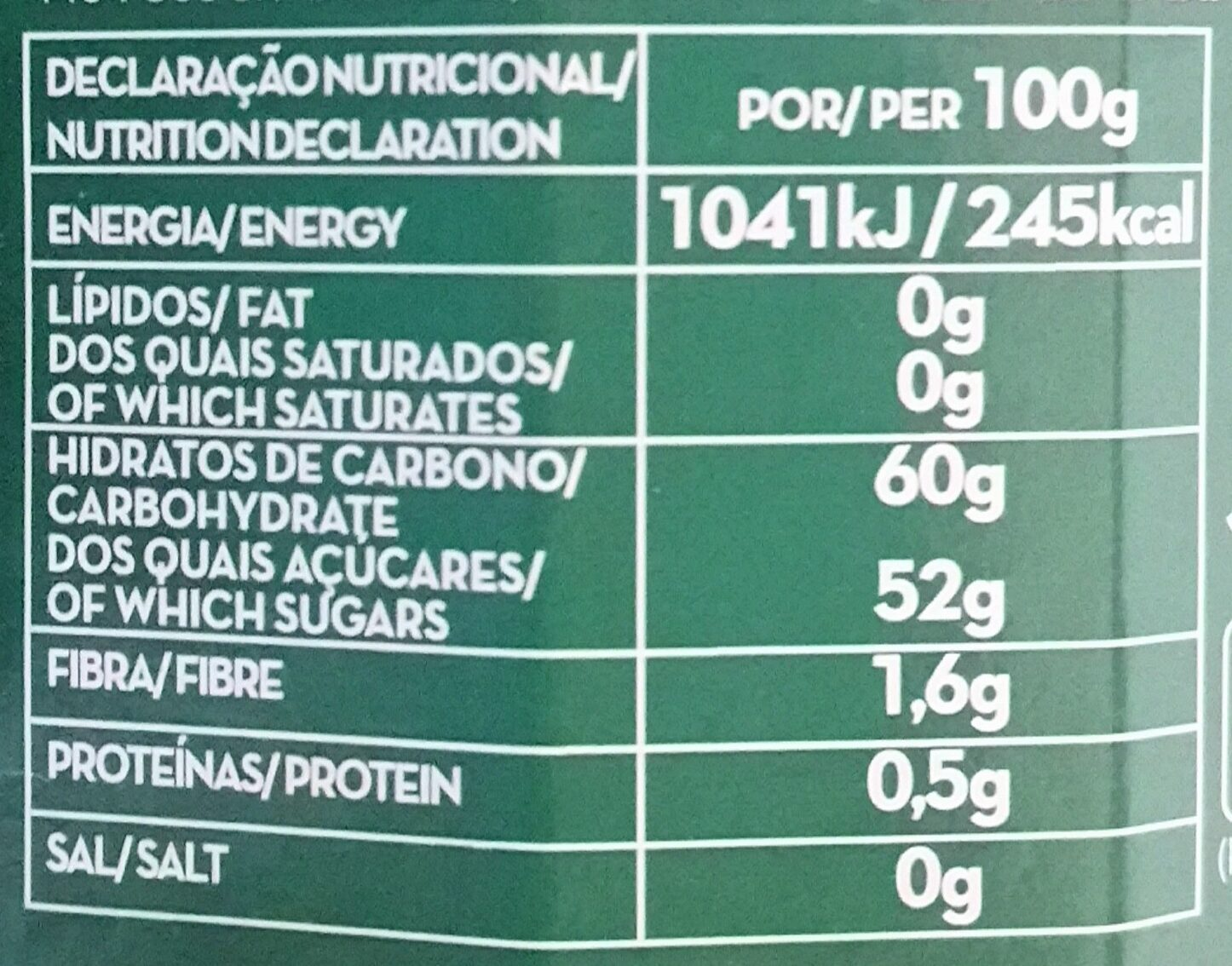 Doce extra 4 frutos vermelhos - Nutrition facts
