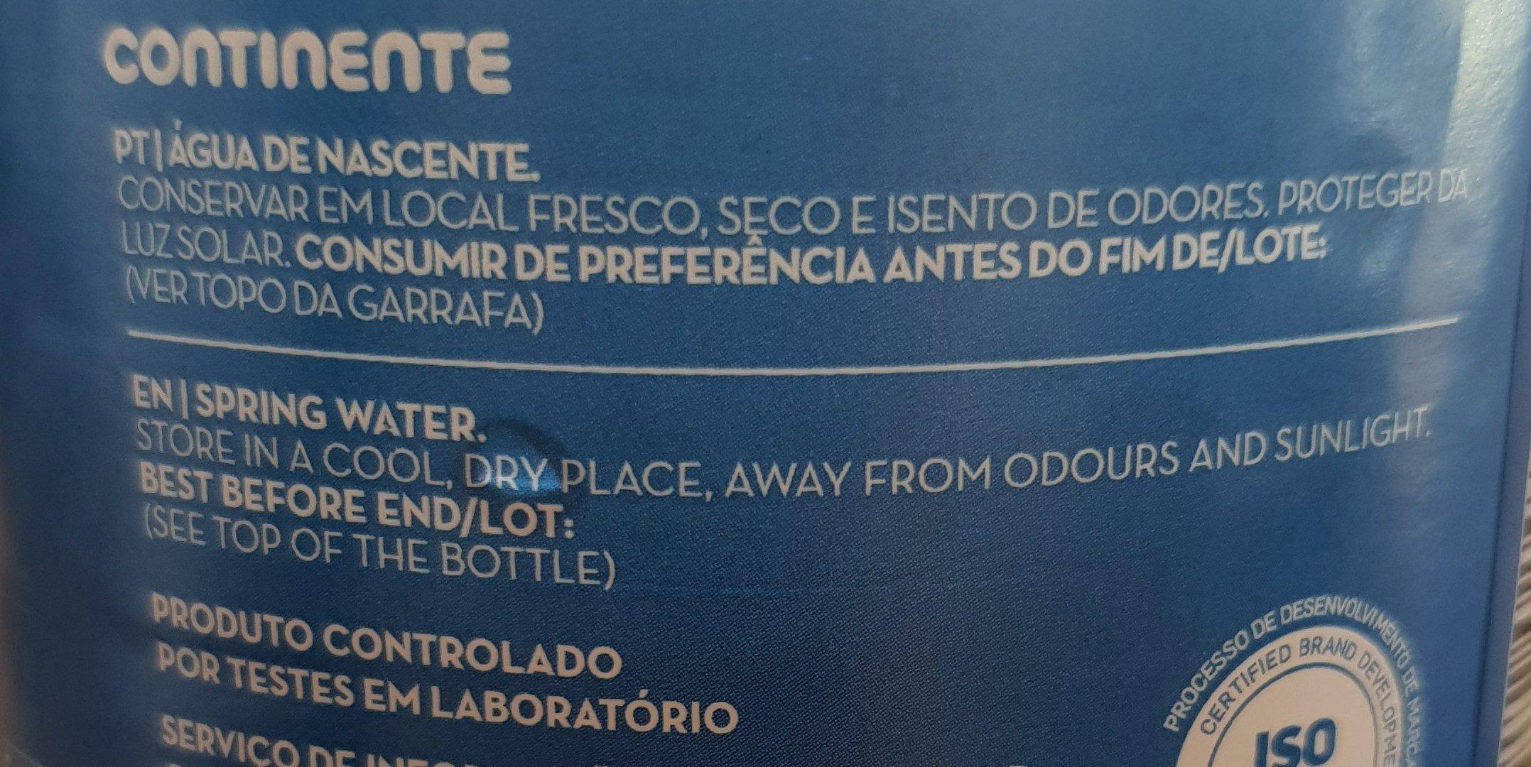 Agua de Nascente - Ingrédients - pt