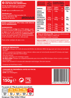 Fusilli com Pesto - Nutrition facts
