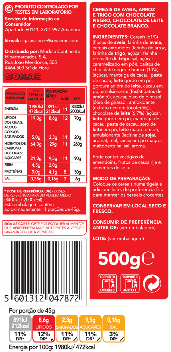 Céréales triples chocolat - Ingredients - pt