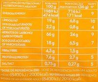 Bolachas de aveia - Valori nutrizionali - pt