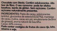 Chocolate negro stevia - Ingredients