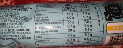 bolachas recheadas chocolate - Informazioni nutrizionali - pt