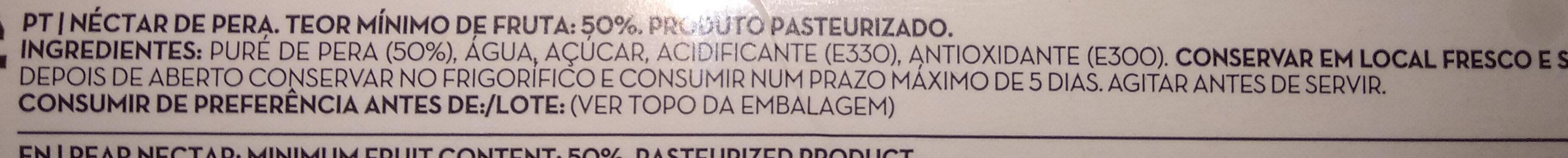 Nectar Pera Continente - Ingrediënten - pt