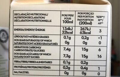 Néctar Ananás, Gengibre e Ácido Fólico - Voedingswaarden - fr