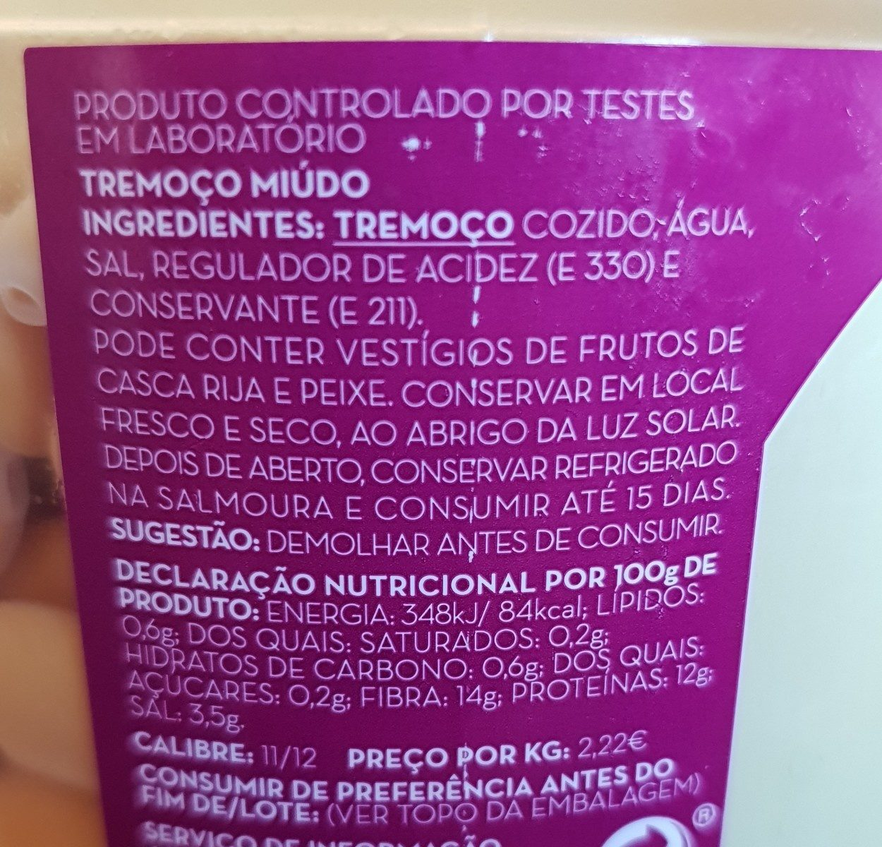 Tremoço (Lupins) - Ingrediënten - fr