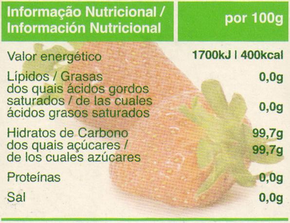Açúcar em pó - Nutrition facts