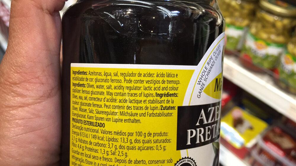 Olives Noires Entières - Ingrédients - fr