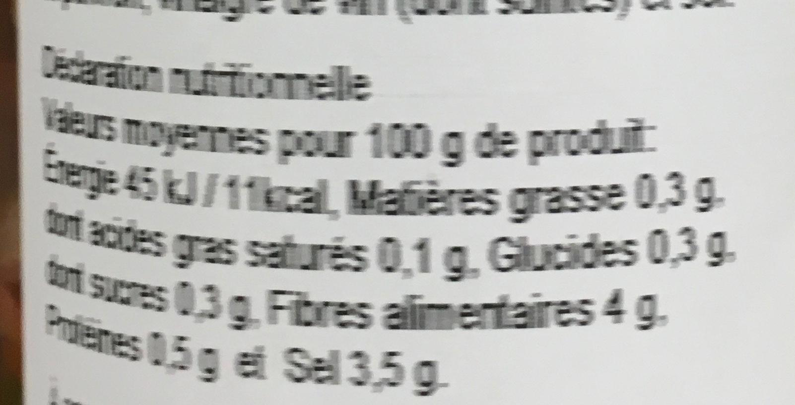 Pickles - Informations nutritionnelles - fr
