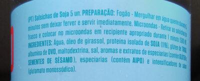 Salsichas - Ingrediënten - pt