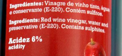 Vinaigre de vin rouge en spray - Ingredients