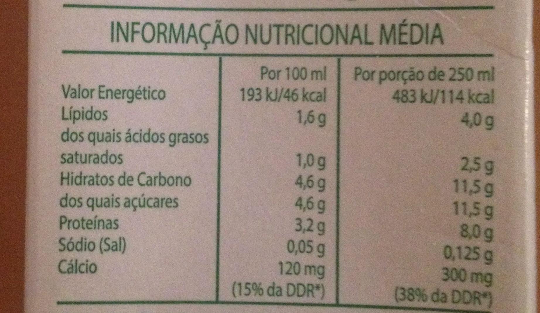 Leite meio gordo - Voedingswaarden - pt