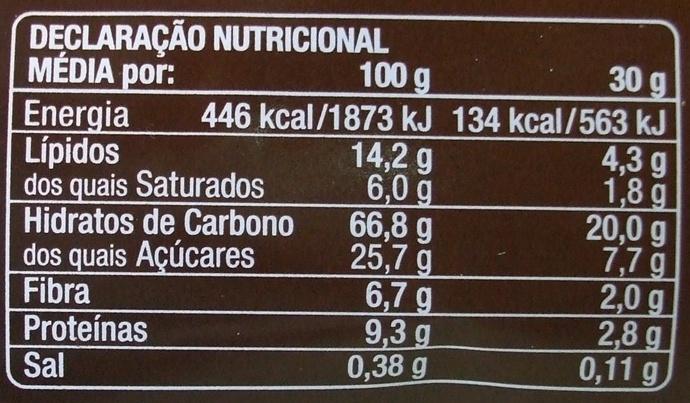 Multi Cereais Crocante - Informação nutricional - pt