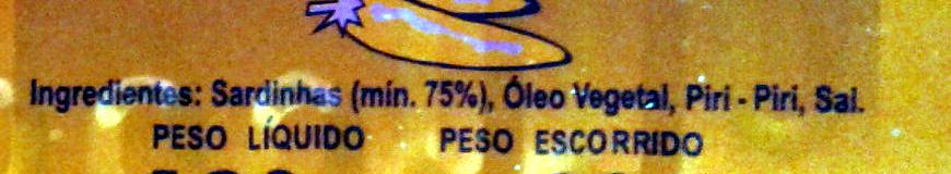 Sardines à l'huile épicée - Ingredientes - pt