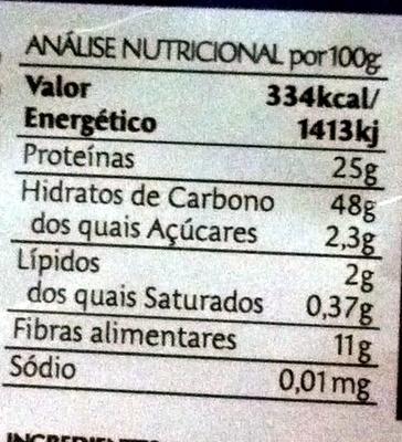 Lentilhas sem Casca - Nutrition facts