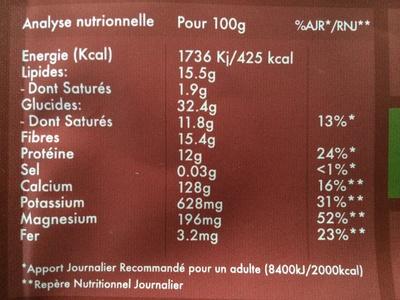 L'éveil du Bouddha Maca & Vanille - Nutrition facts